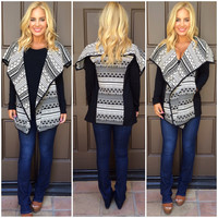 Mika Tribal Print Jacket - BLACK & WHITE