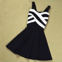 Stripes Hit The Color Stitching Strap Dress from Girl boutique
