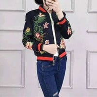 """""""Gucci"""" Women Multicolor Embroidery Flower Long Sleeve Zip Cardigan Baseball Clothes Short Jacket Coat"""