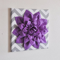 Wall Decor Lavender Dahlia on Gray and White Chevron by bedbuggs
