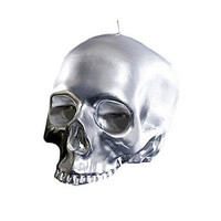 D.L. & CO LARGE SKULL CANDLE IN SILVER METALLIC