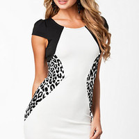Rounded Neckline Bodycon Mini Dress with Leopard Side Contrast