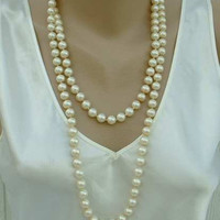 Hong Kong 52 inch Flapper Length Faux Pearl Necklace Vintage Jewelry