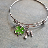 silver bangle, shamrock, jewelry bracelet, good luck gift, christmas jewelry, bridesmaid gift, lucky charm, personalized friendship gift