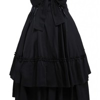 M4U Womens Cotton Black Polka Ruffled Lace Bottom Lolita Skirt