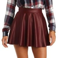 Colored Faux Leather Skater Skirt by Charlotte Russe - Burgundy
