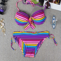 New Womens Unique Rainbow swimwear Push-Ups Swimwear Swimsuit for Summer Gift