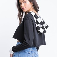 Checked In Cropped Hoodie