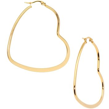 50mm Gold Tone PVD Stainless Steel Heart Hoop Earrings