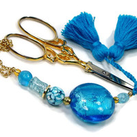 Aqua Scissor Fob, Blue, Quilting, Sewing, Cross Stitch, Needlepoint, Beaded, TJBdesigns