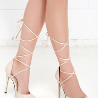 Winning Strategy Nude Lace-Up Pumps