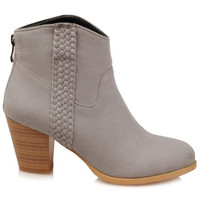 Weaving Suede Wooden Heel Zippered Ankle Boots