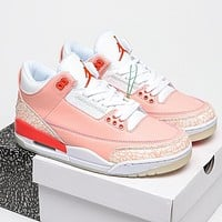 NIKE Air jordan 3 AJ3 men's and women's stitching color high-top basketball shoes sneakers Pink