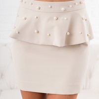 One For The Money Pearl Skirt (Light Taupe)