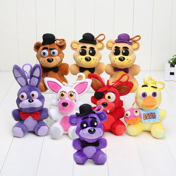 14cm Five Nights At Freddy FNAF Freddy Fazbear Mangle Chica Bonnie Toys Plush Pendants Keychains Dolls Sister Location