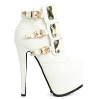 Jaylo White Platform Ankle Boot Gold Plates Stiletto Heels