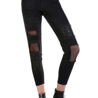 Disturbia Cyndi High Waisted Patched Crop Jeans in Black