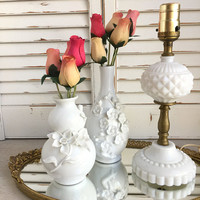 Bedside Lamp Milk Glass with Diamond Cut Hobnail, Small White Table Lamp, Vintage Lighting, Brass and White Glass Lamp, Boudoir Lamp, Vanity