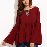 Tops Winter Wine Red Ruffle Long Sleeve T-shirts Loudspeaker [9150486535]