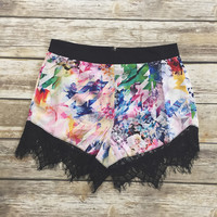 Multi Color Lace Trim Shorts