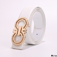 Ferragamo Fashion Women Men Smooth Buckle Belt Leather Belt White