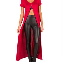 Long Open Slit Top - Red