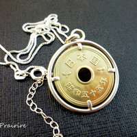 Japanese Coin Necklace , Japanese Coin, Coin pendant, Good luck coin, Lucky coin charm, Sterling silver necklace, Vintage Coin, Coin Jewelry