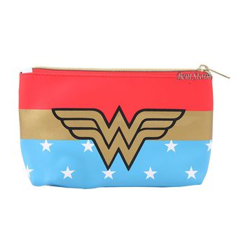 "Licensed cool DC  Wonder Woman Logo Stars Cosmetic Make-Up Tote Bag Coin Purse 5""x8"" NEW"