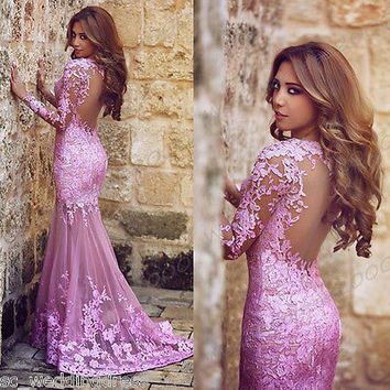 New Mermaid Prom Party dress Formal Evening Pageant Ball gown Wedding Gown