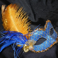 Venetian Masquerade Mask in Royal Blue and Gold