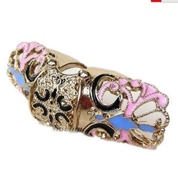 Retro Punk Alloy With Butterfly Shape Flexional Double Joint Rings