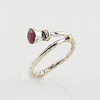 Ruby Two Tone Adjustable Sterling Silver Ring
