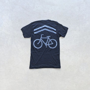 Mens bicycle tshirt - white on black - Share The Road by Blackbird Tees
