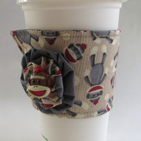 Sock Monkey Coffee Cup Cozy / Classic Toy Drink Sleeve