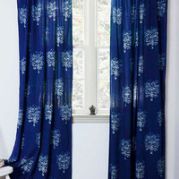 """Indigo curtains window curtain Indigo blue bedroom - ONE Panel - 44""""x84"""" or 96""""L - hand block printed - Cotton - Home and Living - Tree"""