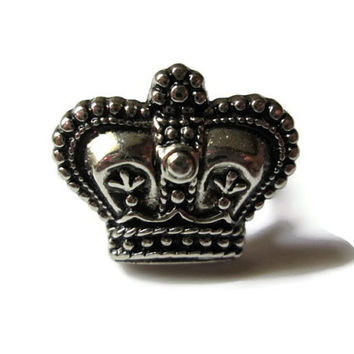Silver Crown Ring, Adjustable, Medieval Jewelry, Silver Toned Metal Ring Base