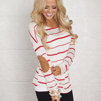 Thin Red Stripes with Suede Elbow Patch Top