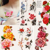 One Beautiful DIY Body Art Temporary Tattoo Colorful Flower Watercolor Painting