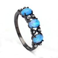 Rings for Women royal blue natural stone Ring Opals Black gold