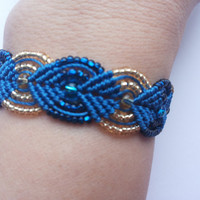 Blue and golden micro macrame bracelet
