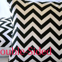 Chevron Black and white, 18 X 18 pillow cover Double Sided