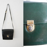 Vintage dark green flip bag / gold hardware / purse