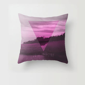 Throw Pillow Decorative Pillow Case Pink Triangle Geometric Modern Just Imagine Quote Nature Made to Order Photo Pillow 16x16 18x18 20x20