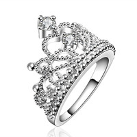 silver plated vintage jewelry aliancas casamento austrian crystal crown rings for women