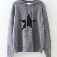 Star Print Hooded Knit Sweater