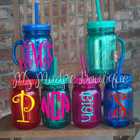 Personalized/Monogrammed Handled Double Insulated Mason Jar Tumbler (NEW COLORS)