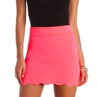 Scalloped Bodycon Mini Skirt by Charlotte Russe - Neon Pink