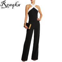 Self portrait New Jumpsuit women overall Black white stitching women's Halter sexy Hollow jumpsuit waist pants coveralls Rompers
