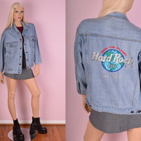 90s Hard Rock Cafe Denim Jacket/ Unisex Medium/ 1990s/ Jean Jacket