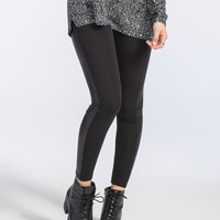 Just One Faux Leather Side Womens Leggings Black  In Sizes